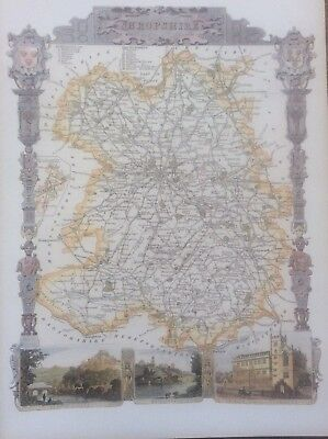 """Shropshire Antique Colour Map by Thomas Moule County Maps of Old England 14"""""""