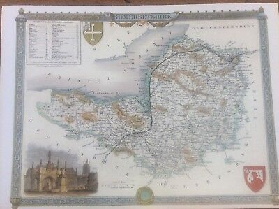 Somersetshire Antique Colour Map by Thomas Moule County Maps of Old England 14""