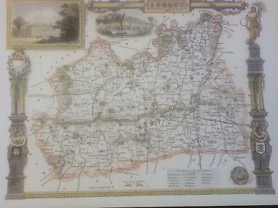 Surrey Antique Colour Map by Thomas Moule County Maps of Old England 14""