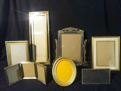 Mixed Lot of 9 VTG & ATQ Picture Frames- BRASS* SWIVEL* OVAL* MORE!