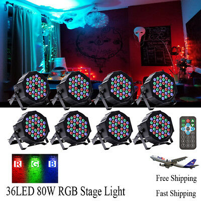 8PCS RGB LED Par Stage Lighting 80W Spotlight with Remote Control DJ Disco Party