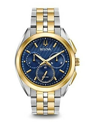 New Bulova Curv Two-Tone Chronograph 43Mm Blue Dial Two-Tone Bracelet 98A159