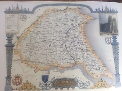 """East Yorkshire Antique Colour Map Thomas Moule County Maps of Old England 14"""""""