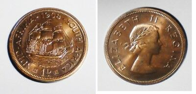 1958 SOUTH AFRICA Penny  MINTAGE 985 nice color Proof