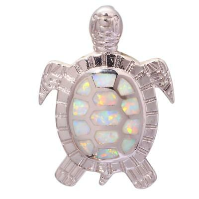 Luster White Fire Opal Lovely Tortoise Gold Plated Women Jewelry Pendant OD5989