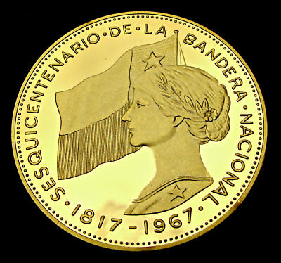 Chile, 500 Pesos 1968 Gold Plated Restrike, High Grade Coin, Gem!!!