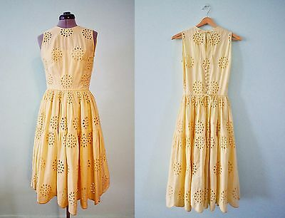 Vintage FOLKLORE Yellow Full Skirt, Fitted Bodice, Embroided Dress, S