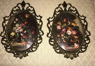 Oval Floral Convex Bubble Glass Ornate Framed Hanging Wall Art Vintage