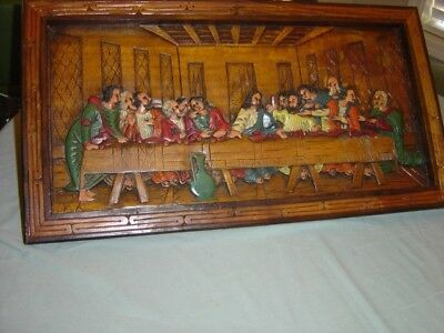 Vintage Hand Carved / Hand Painted Wood Last Supper Painting