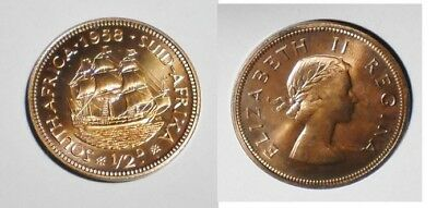 1958 SOUTH AFRICA Half Penny [ 1/2 ] MINTAGE 985 nice color & luster Proof