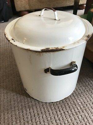 Large Enamelware Tin Bread Bin French Rustic Antique