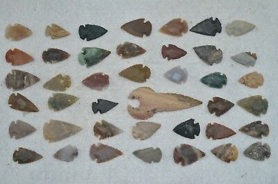"41 PC Flint Arrowhead Ohio Collection Points 2-3"" Spear Bow Knife Hunting Blade"