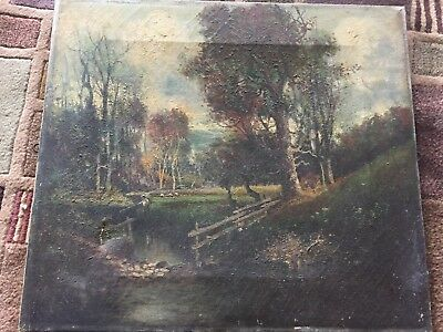 Vintage Antique Landscape on Stretched Canvas Unknown Age or Artist 16 x 18