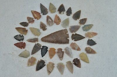"38 PC Flint Arrowhead Ohio Collection Points 2-3"" Spear Bow Knife Hunting Blade"