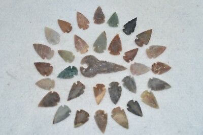 "32 PC Flint Arrowhead Ohio Collection Points 2-3"" Spear Bow Knife Hunting Blade"
