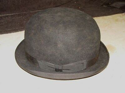 Estate Old Vintage Bowler Derby Black Hat