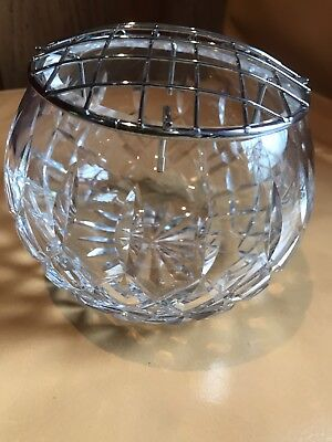 Lead crystal cut glass rose/posy bowl with metal lid glassware