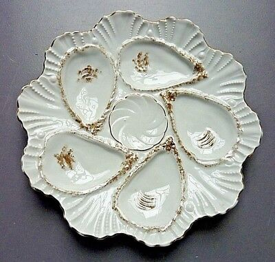 Antique 5 Well Oyster Plate - Gold Trim - #12095 REGISTRIRT Germany