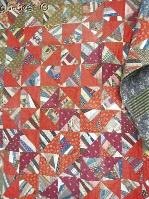 Reds Blues! c 1880s OH MY What a Pattern QUILT Antique 20th Celebration!