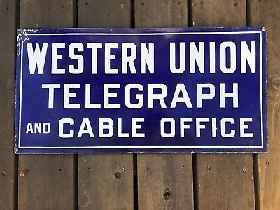 Vintage WESTERN UNION TELEGRAPH AND CABLE OFFICE Double Sided Porcelain Sign