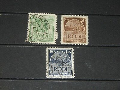 Italy Rhodes stamps - 3 mint hinged and used stamps - earliest issues !!