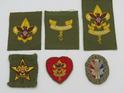 Original 1950's Boy Scout Rank Patches-Tenderfoot Thru Eagle Scout-6 Pieces
