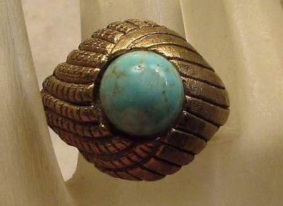 Vintage 60's Chunky Glass Lapis Bead Cocktail Adjustable Ring Light Blue