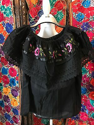 8c1bce0902e8a Peasant vintage Style Tunic Hand Embroidered Mexican Blouse Off Shoulder Top