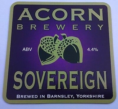 ACORN brewery SOVEREIGN ale beer pumpclip UNUSED badge front pump clip Yorks