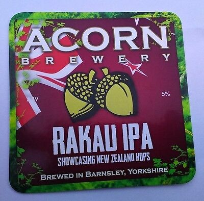 ACORN brewery RAKAU IPA cask ale beer pumpclip UNUSED badge front pump clip