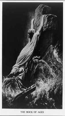 Photo:The Rock of Ages,1917,woman clinging to rock,photo,religion