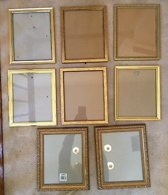 "Lot of 8 Gold Tone Rectangle Picture Frames 8"" x 10"""
