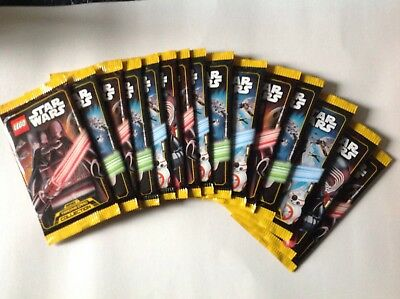 15 sealed packets of star wars lego cards