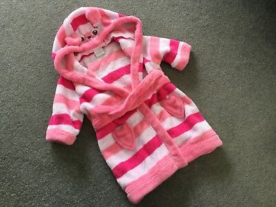 6-9 months girls dressing gown soft velour with hood