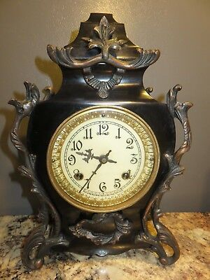 Pretty Antique 19Th Century French Style New Haven Cast Iron Brass Ornate Clock