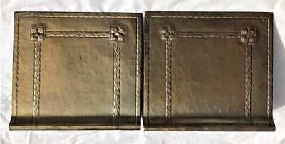 Pr Vintage Arts & Crafts Mission Era Signed Roycroft Hammered Copper Bookends