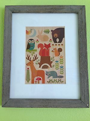 Baby Nursery Frame Decor Forest Animals Wood Print