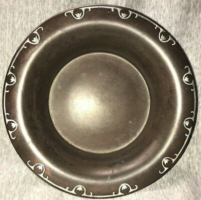 "Antique Arts & Crafts Mission Era Sterling On Bronze 11"" Silvercrest Bowl #900"