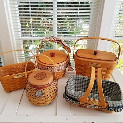Longaberger Lot #7 Grp Of 5 Nice Tour Baskets & Let Me Call You Sweetheart