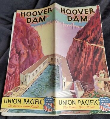1933 Travel Brochure Union Pacific Overland Railroad HOOVER DAM Route F/O Map
