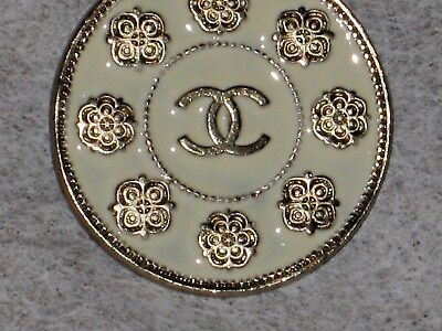 Chanel  Metal Cc Logo Front Camellia Flower Off White Button  22 Mm /  1'' New