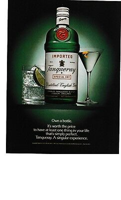 1988 - Tanqueray. Own A Bottle. Distilled English Gin - Vintage Print Ad