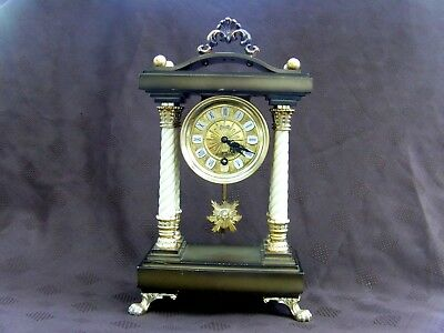 "Vintage German Schmid Pillar Mantel Clock "" WORKING """