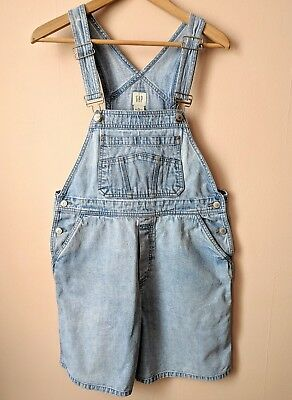 90s vintage GAP stonewashed denim short dungarees 12 - 14 M medium playsuit