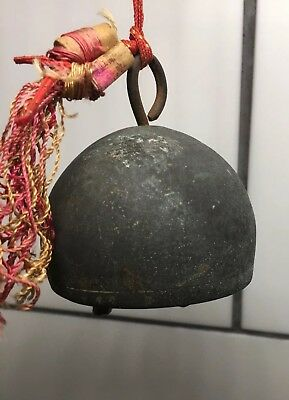 Antique Rare And Unusual Hand Brass Or Bronze CHINESE TEMPLE BELL 2-3/8 Di