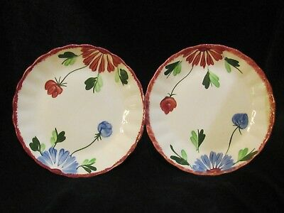Blue Ridge Pottery Mardi Gras Red Colonial Scalloped Border Flowers Salad 2