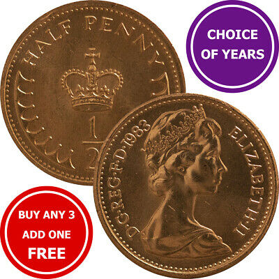 Decimal Half Pence/Penny ½p Coin - 1971 to 1983 - Elizabeth II - Choose Year