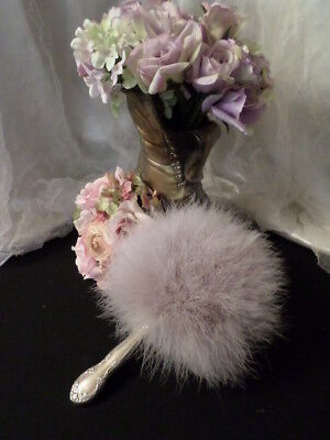 Taupe color Vintage inspired Fluffy Marabou Powder Puff w/ Silver Plated Handle