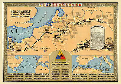 """1945 Military Map 2nd Armored Division """"Hell on wheels"""" War against the Axis"""