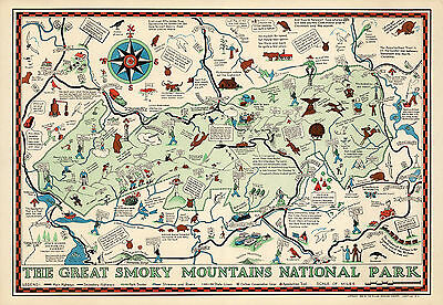 1939 Map Great Smoky Mountains National Park North Carolina Tennessee Art Poster